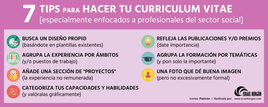 Infografía 7 tips para hacer un curriculum vitae