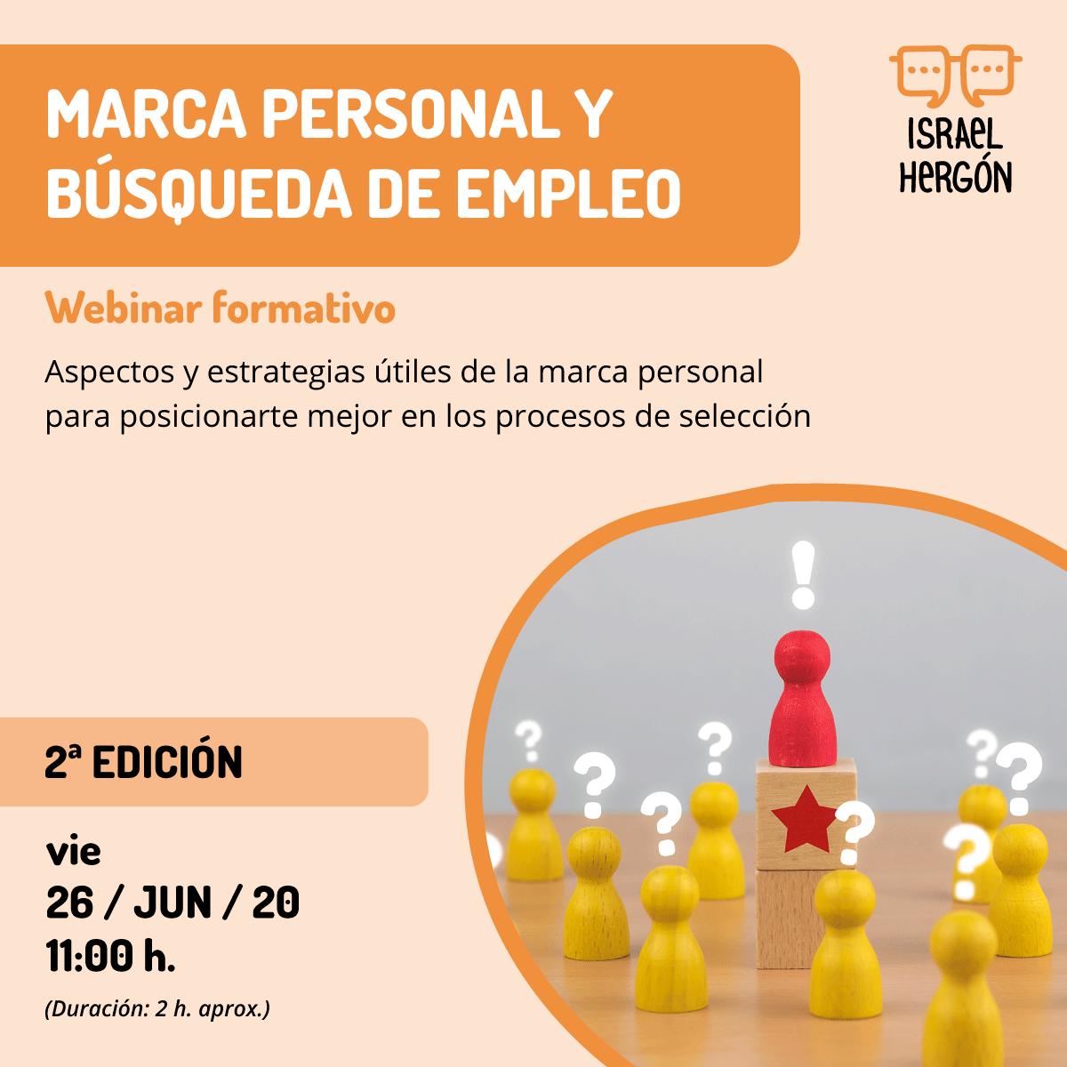 """Cartel 2ª ed. webinar """"Marca Personal y Búsqueda de Empleo"""""""